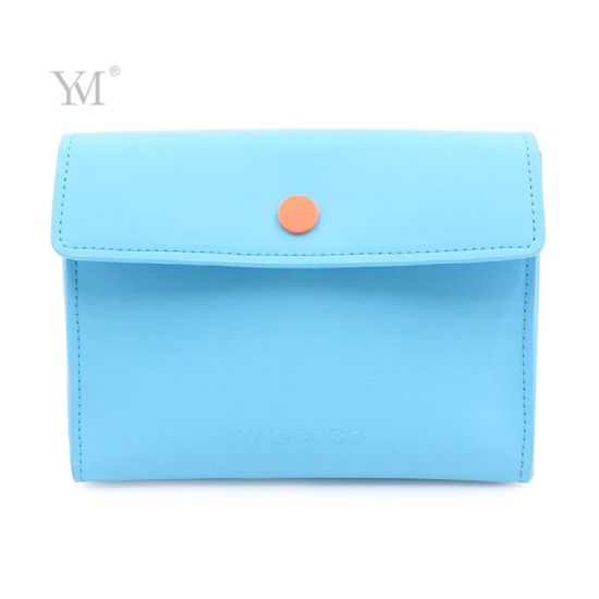 Cute Unique Custom Logo Blue Ladies Makeup Clutch Envelop Bag