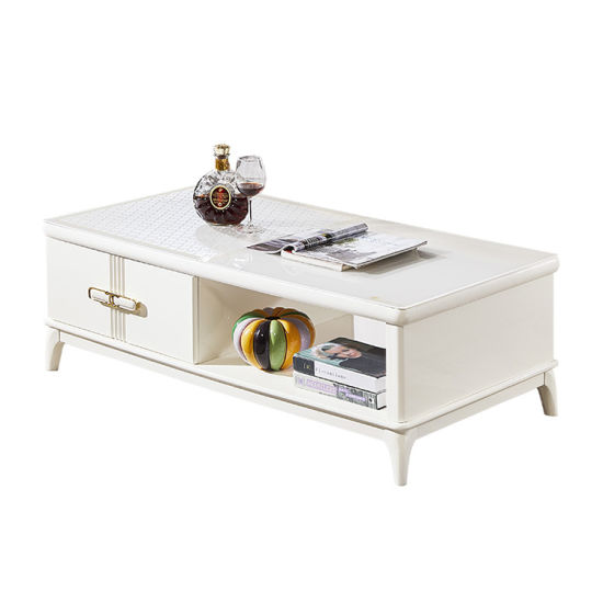 Living Room Furniture Modern MDF White Glass Coffee Table
