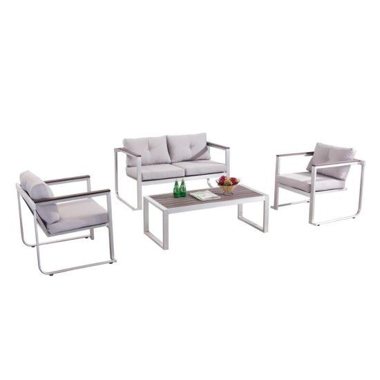 Wood Armrest Brushed Frame Custom Cushion Outdoor Sofa Set