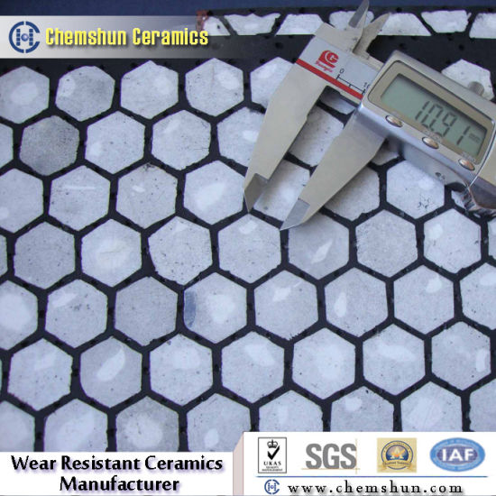 Rubber Backed Ceramic Wear Tile Liner with High Abrasion Resistance pictures & photos