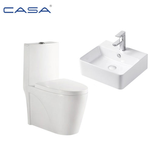 European Floor Mounted S Trap Siphonic Ceramic Bathroom Water Closet
