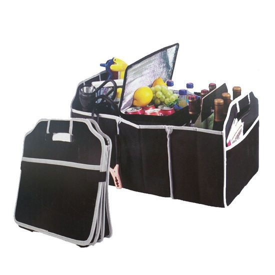 Car Boot Storage Organiser Foldable  Trunk Canvas Tidy Storage 3  Compartments