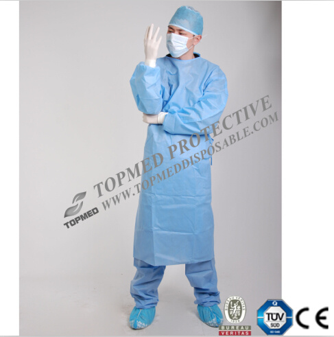 Medical Knitted Cuff Eo-Sterilized SBPP/PE/PP+PE/SMS Isolation Gown Surgical Gown Cheap Price pictures & photos