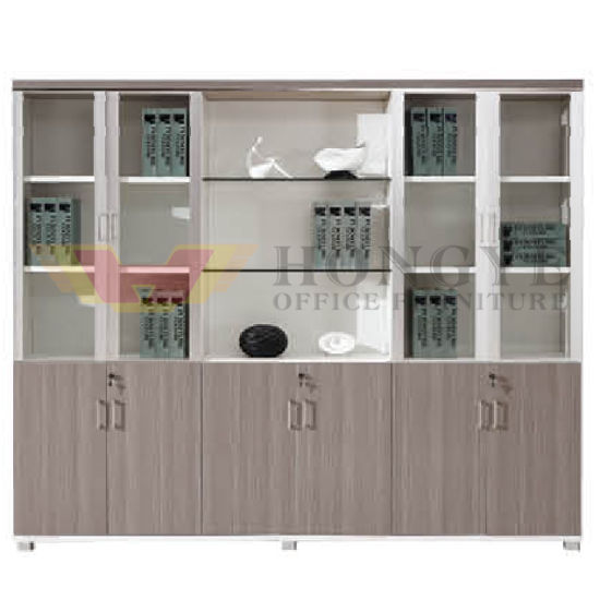 Modern Six Doors Glass Wooden Vertical Office Filing Cabinets (HY-NNH-W06)
