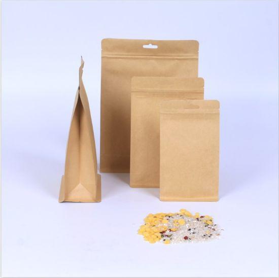 Wholesale Food Grade Kraft Paper Bag for Food Snack Packaging