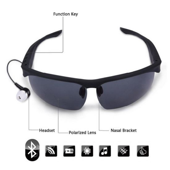Bluetooth Smart Sunglasses Wireless Headset Headphone Polarized Glasses, Phone Answer Call
