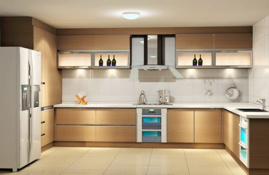 Melamine Laminated Wood Finish Particle Board Kitchen Cabinet With Simple Designs