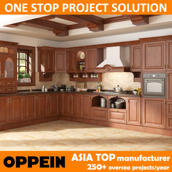China Oppein India Style L Shape Brown Pvc Wood Modular Kitchen
