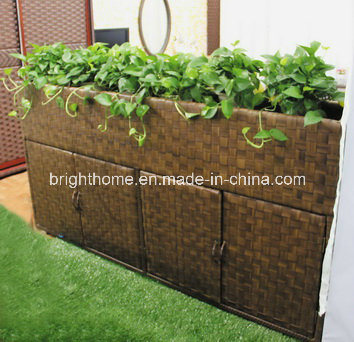 Rectangle Rattan Patio Outdoor Garden Flower Pot with Shoe Cabinet pictures & photos
