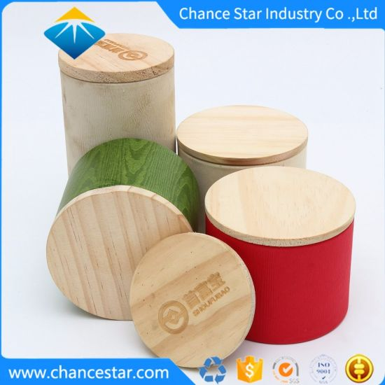 Custom Thick Cardboard Round Paper Box with Wooden Lid