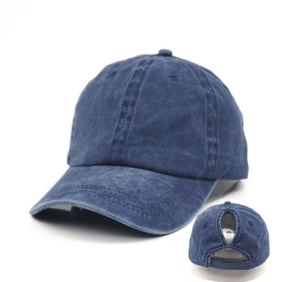 Customize Blue Baseball Hats Ponytail Cap with Women Horsetail Hole Washed Cotton Twill