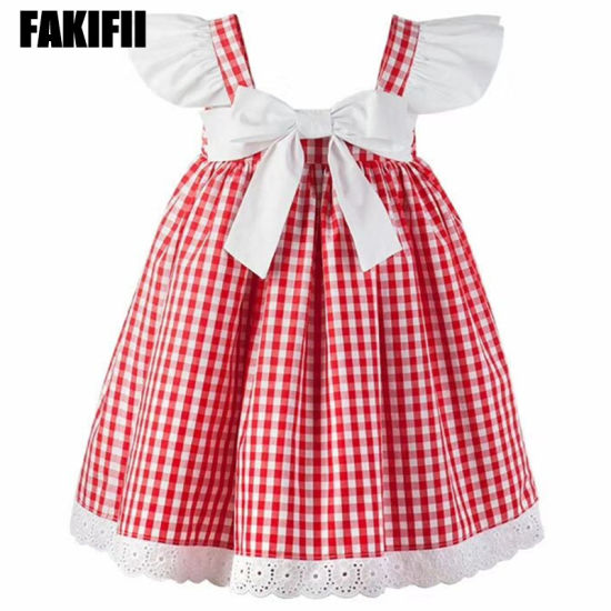 1f86125a2eda Wholesale Kids Wear Children Apparel Summer Girl Red Small Plaid Dress New Fashion  Clothes - China Baby Wear