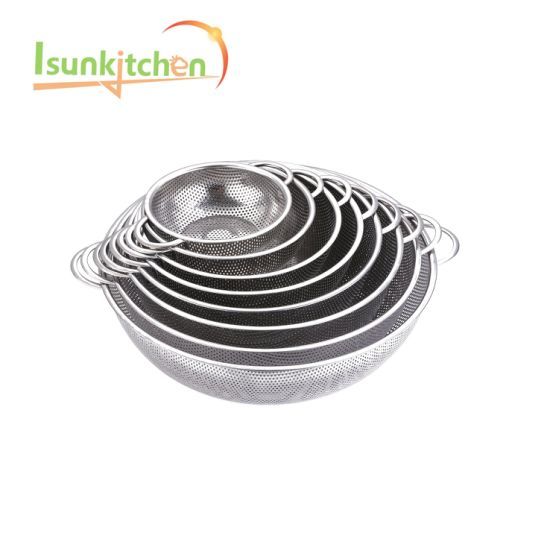 19.5kitchen Fruit Vegetable Washing Stainless Steel Perforatedfry Basket pictures & photos