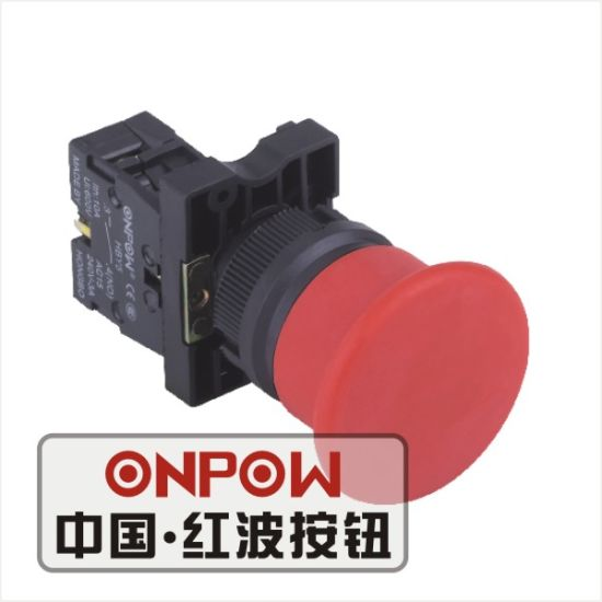 Onpow 22mm Mushroom Pushbutton Switch (Economical Type) (HBY5E-11M/R, CE, CCC, CB, RoHS)