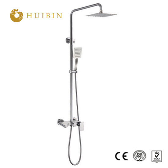 China Wall Mount Chrome Exposed Shower Set System With 8 Function