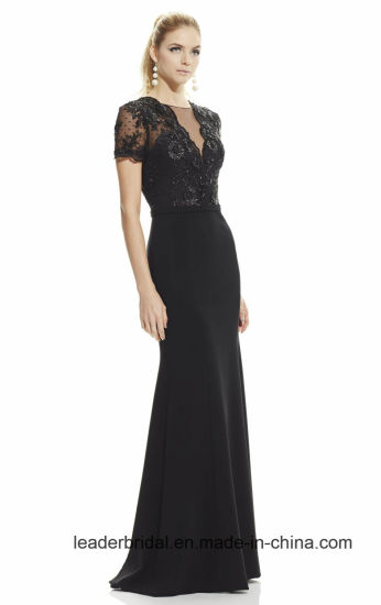 China Short Sleeves Mother Formal Gowns Black Lace Evening Dresses ...
