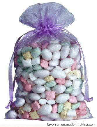 Wholesale Organza Favor Bags Lavender Color Customized Logo Avaiable