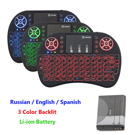 Mini I8 2.4GHz Wireless Keyboard Russian Spanish English Version Air Mouse Touchpad I8 Backlit for Android TV Box pictures & photos