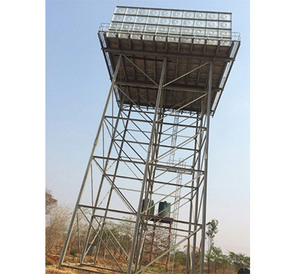 Overhead Galvanized Steel Water Tank Tower