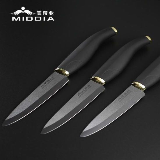 Distribute Kitchen Tools 4 Inch Black Ceramic Fruit Knife with Elegant Handle pictures & photos