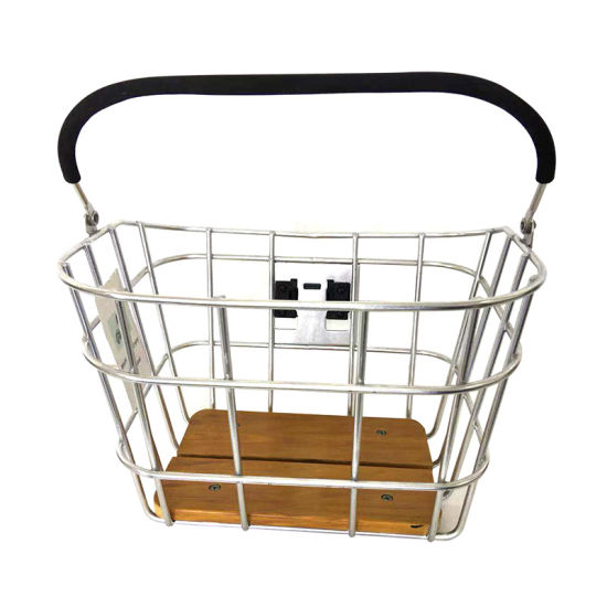 Fashion Aluminum Alloy Bicycle Basket with Handle and Qr and Wood of Bicycle Parts