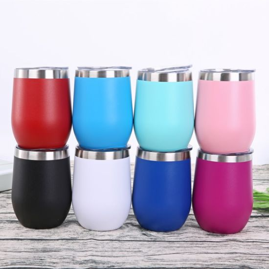 Custom Pure Color Powder Coated Egg Shaped Double Wall Stainless Steel 12oz Wine Tumbler