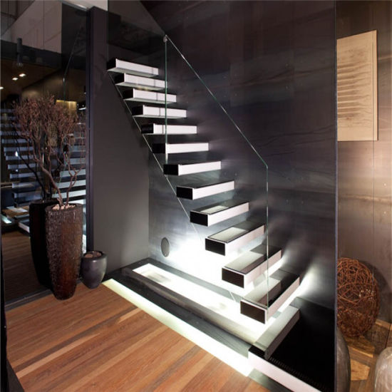 Red Oak Wood Tread Stairs Floating Cantilevered Staircase