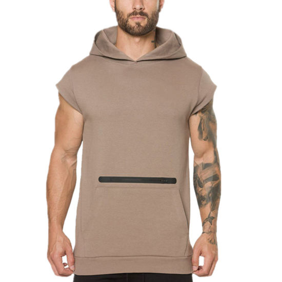 OEM Stylish Custom Blank Pullover Fitness Short Sleeve Slim Fit Gym Muscle Hoodie for Men pictures & photos