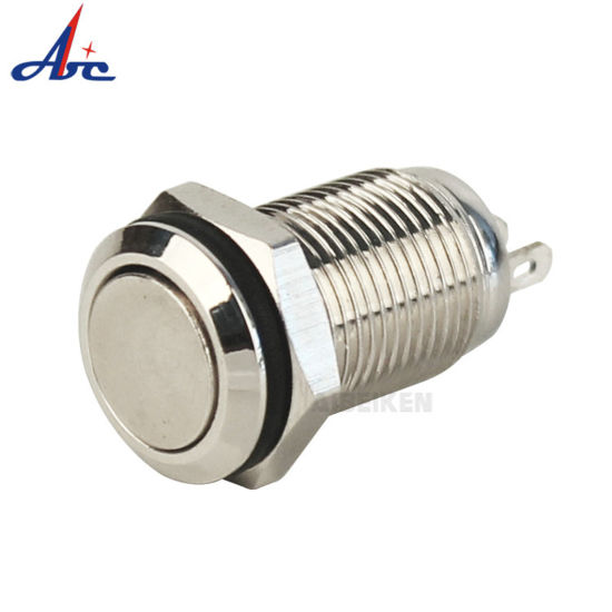 Push Button On Off Latching 36V 10mm Stainless Steel Switch