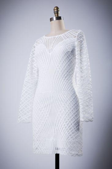 Long White Sleeved Short Evening Dress for Sale