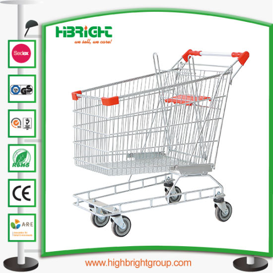 Supermarket Metal Shopping Cart with Elevator Wheels pictures & photos