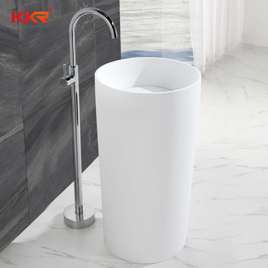Kkr Solid Surface Freestanding Bathroom Sink Wash Basin