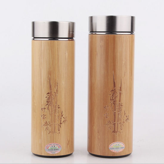 300ml/380ml Bamboo Shell Stainless Steel Vacuum Insulated Infuser Thermos Mug
