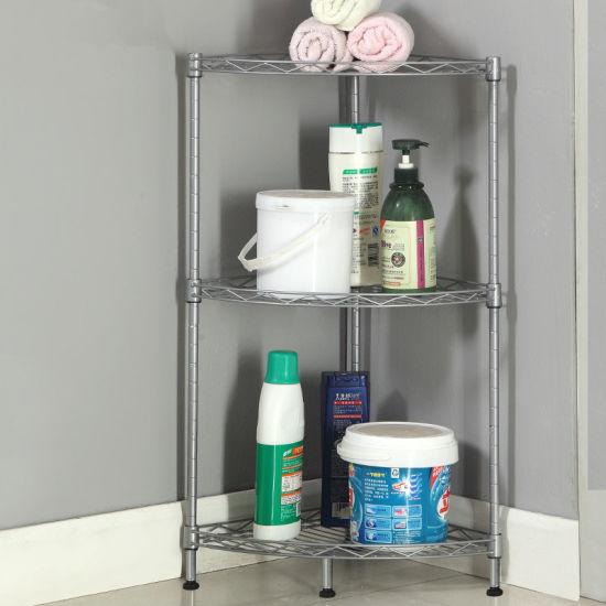 China Home Shelves Rack 3 Tier Metal Wire Corner Kitchen
