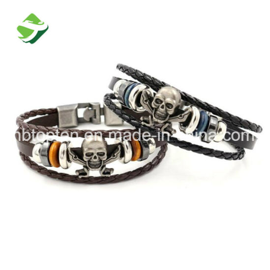 Fashion Punk Men Leather Skull Buckle Bracelets & Bangles High Quality Silver Plated Stainless Steel Charm