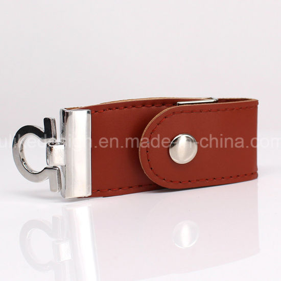 Keychain Leather Style USB Flash Drive Red Color pictures & photos