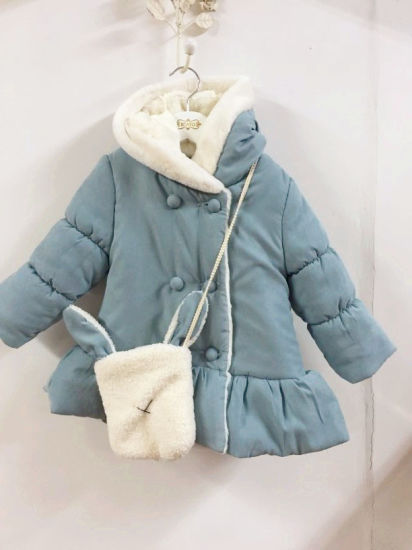 New Baby Girl Clothes Winter Coat with Handmade Rabbit Bag