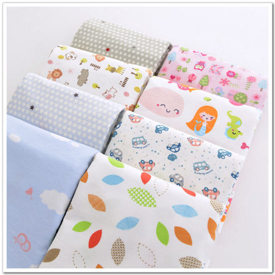 100% Cotton Reactive Printed Flannel Fabric 120-150GSM for Baby Cloth Bedsheet