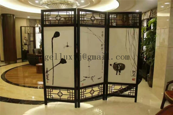 Chinese Style 3 Panel Room Divider Stainless Steel Folding Screen