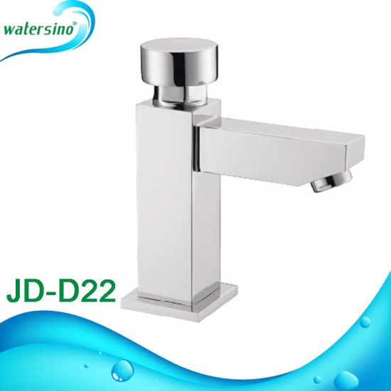 Jd-D23 Brass Time Delay Mixer Square Shape Chrome Basin Mixer pictures & photos