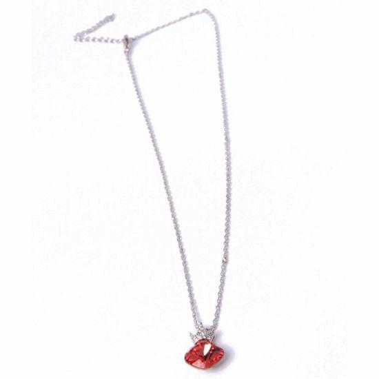 Custom Fashion Jewelry Silver Red Rhinestone Pendant Necklace