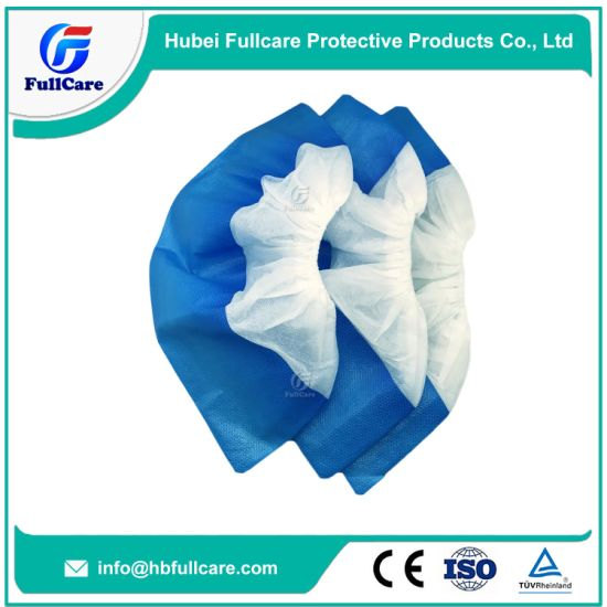 Disposable PE CPE Plastic and Nonwoven Medical Waterproof No Slip Shoecover pictures & photos