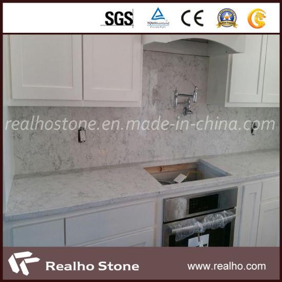Polished Artificial Carrara White Quartz Countertop for Sale
