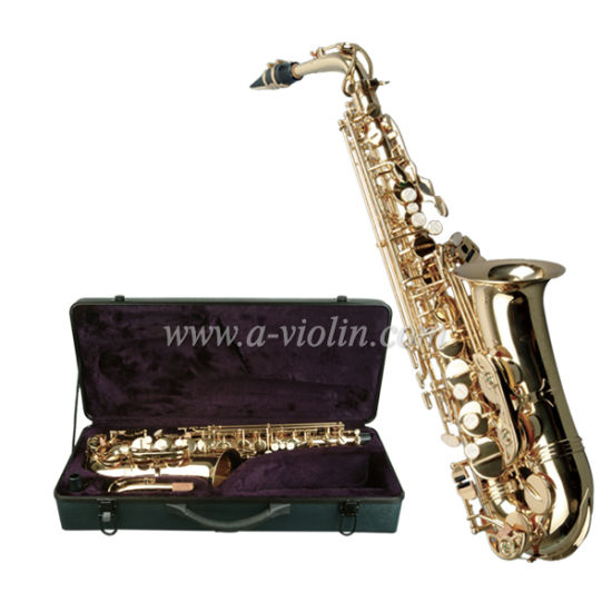 High F# Golden Lacquered Student Model Saxophone (SP1001G) pictures & photos