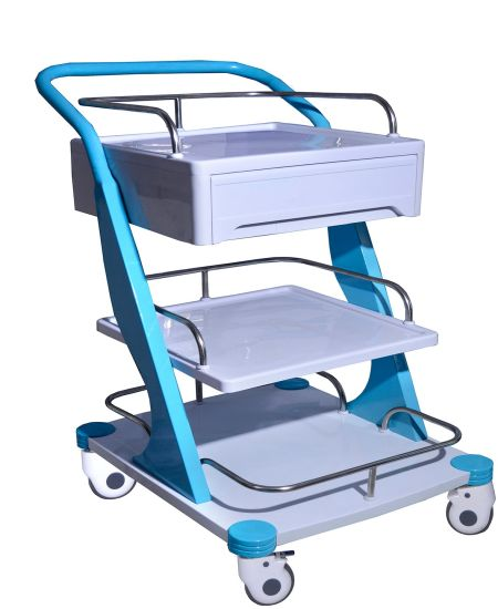 Manufacturer ABS Hospital Medical Instrument Trolley Plastic Patient Nursing Treatment Trolley/Cart with 3 Layers OEM