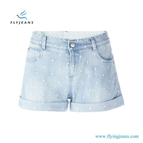 ea5ff8d979ca China Hot Sale Ladies Summer All-Over Embroidered Stars Jeans Shorts ...