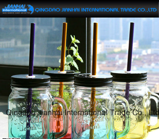 Custom Made Embossed Glass Mason Jar with Lids and Straw pictures & photos