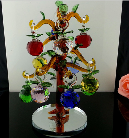 Beautiful Christmas Day Gift Colorful Crystal Apple Tree