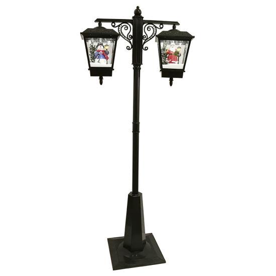 BSCI Factory Seasonal Black Big Size Rainproof Noel Double Lanterns Musical LED Christmas Street Lamp Post with Snow Function