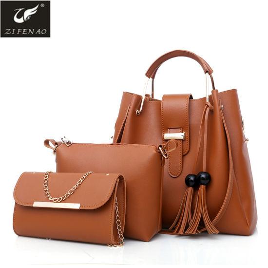 46b11995fb China European Design 3 in 1 Set PU Ladies Tote Handbag - China ...